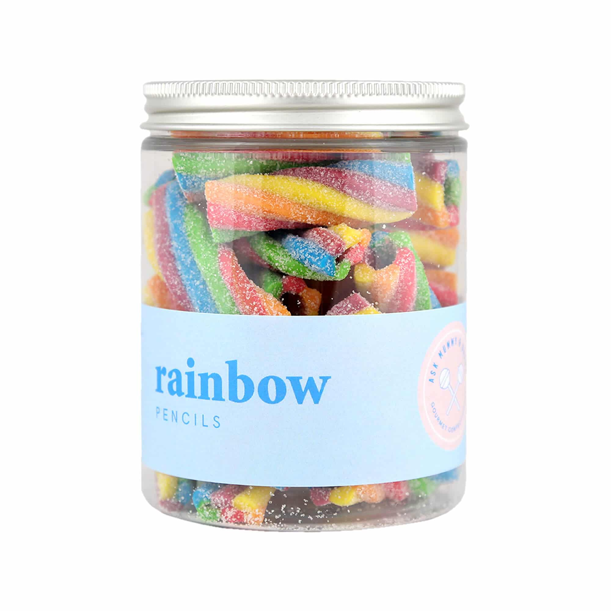 A jar of Rainbow Pencil Sweets