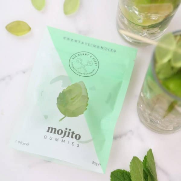 Mojito Gummies on display next to the packaging