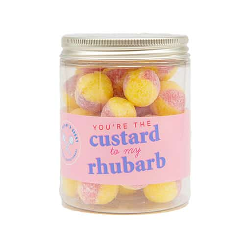 A jar of rhubarb and custard sweets