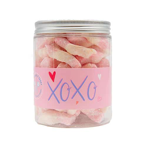 A jar of strawberry milkshake sweets