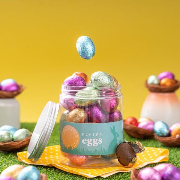 Jar of foiled covered chocolate easter eggs